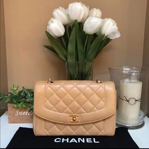 Authentic Chanel Diana Bag Beige